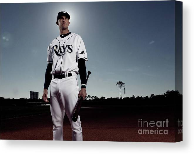 Media Day Canvas Print featuring the photograph Evan Longoria by Nick Laham