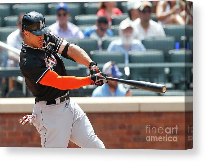 Three Quarter Length Canvas Print featuring the photograph Giancarlo Stanton by Rich Schultz