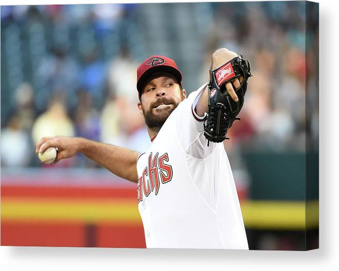 American League Baseball Canvas Print featuring the photograph Josh Fields by Norm Hall