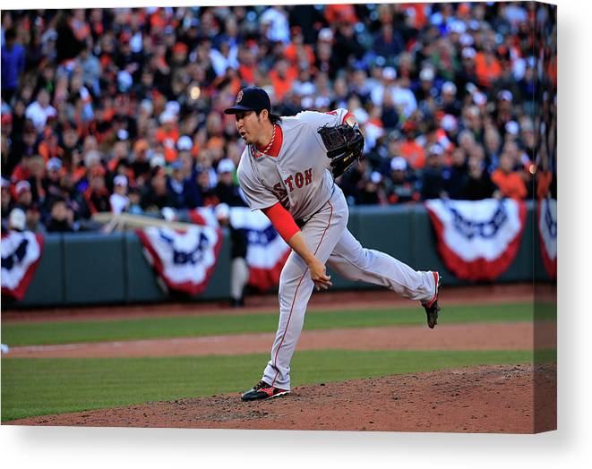 American League Baseball Canvas Print featuring the photograph Junichi Tazawa by Rob Carr