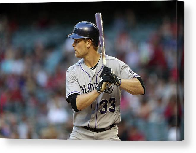National League Baseball Canvas Print featuring the photograph Justin Morneau by Christian Petersen