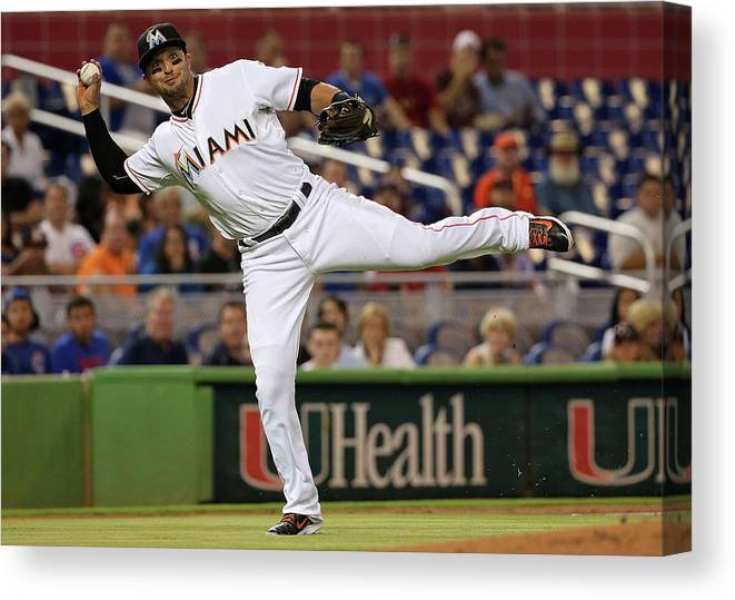 People Canvas Print featuring the photograph Martin Prado by Mike Ehrmann
