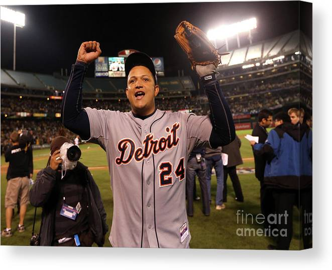 American League Baseball Canvas Print featuring the photograph Miguel Cabrera by Ezra Shaw