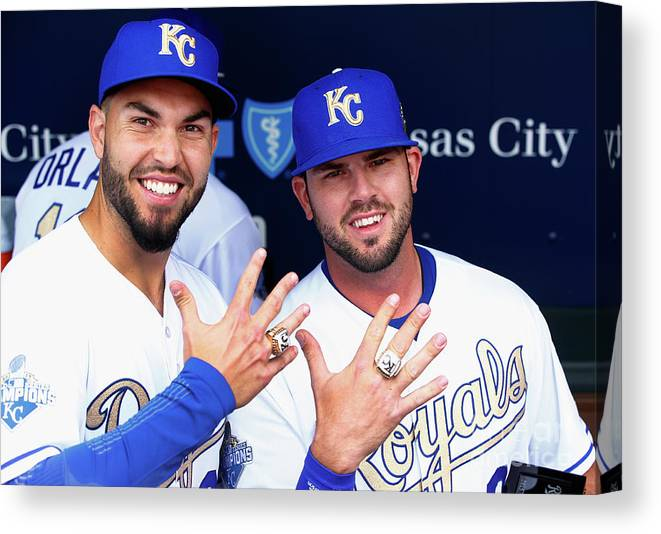 People Canvas Print featuring the photograph Mike Moustakas and Eric Hosmer by Jamie Squire