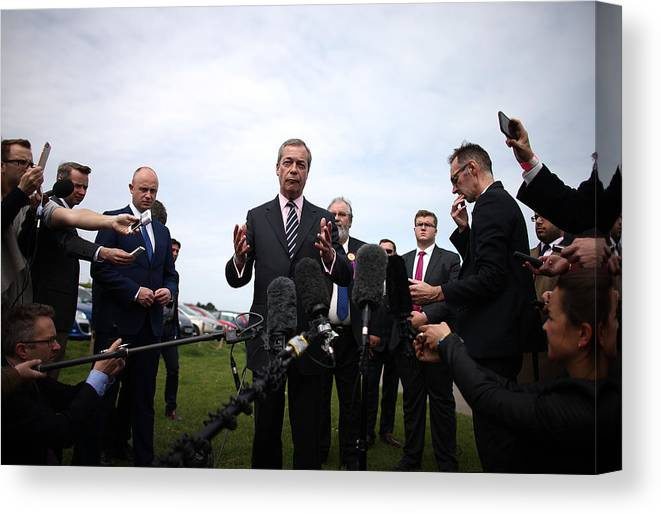 Failure Canvas Print featuring the photograph Nigel Farage Resigns As Leader Of UKIP by Carl Court