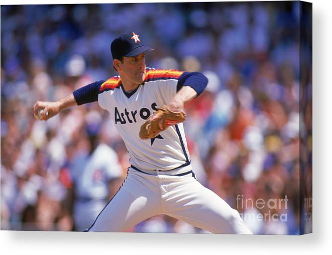 1980-1989 Canvas Print featuring the photograph Nolan Ryan by Ron Vesely