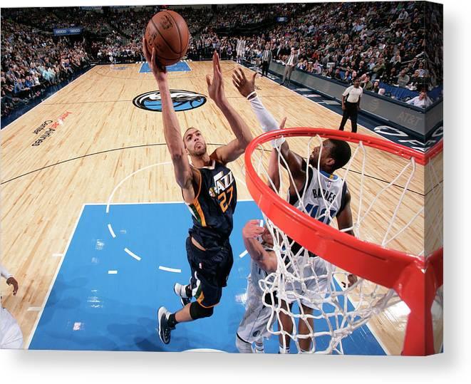 Nba Pro Basketball Canvas Print featuring the photograph Rudy Gobert by Glenn James