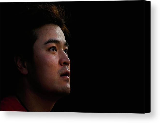 American League Baseball Canvas Print featuring the photograph Shin-soo Choo by Tom Pennington
