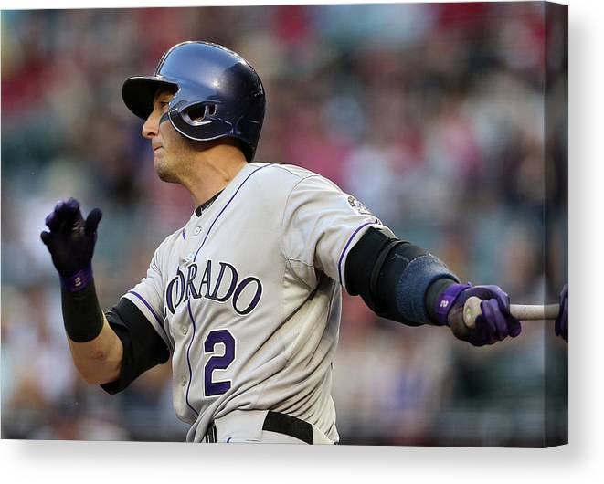National League Baseball Canvas Print featuring the photograph Troy Tulowitzki by Christian Petersen