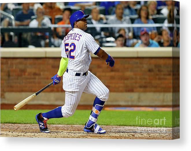 Following Canvas Print featuring the photograph Yoenis Cespedes by Jim Mcisaac