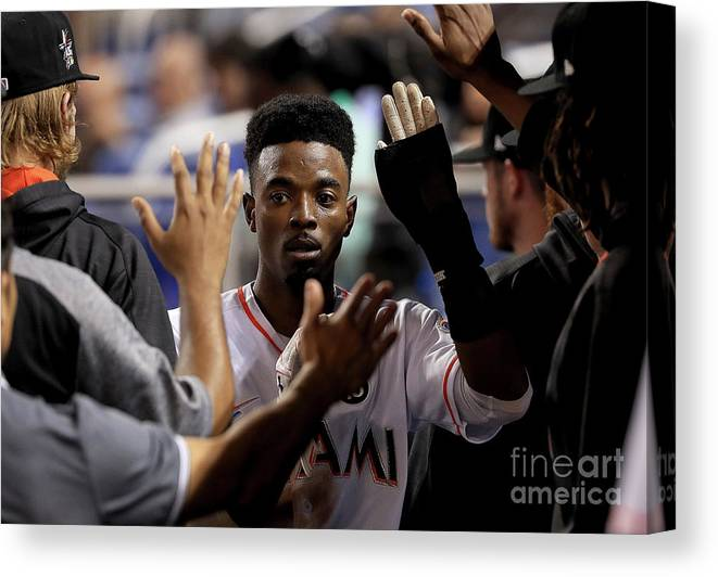 Second Inning Canvas Print featuring the photograph Dee Gordon by Mike Ehrmann