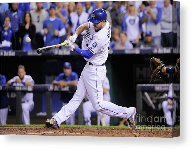 People Canvas Print featuring the photograph Eric Hosmer by Ed Zurga