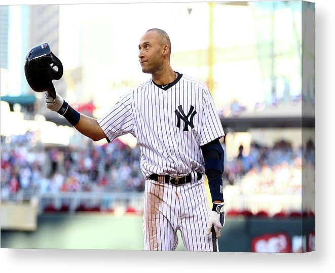 Crowd Canvas Print featuring the photograph Derek Jeter by Elsa