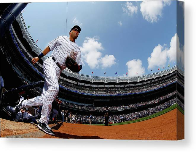 People Canvas Print featuring the photograph Derek Jeter by Al Bello