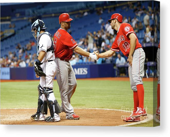 Ninth Inning Canvas Print featuring the photograph Albert Pujols by Brian Blanco