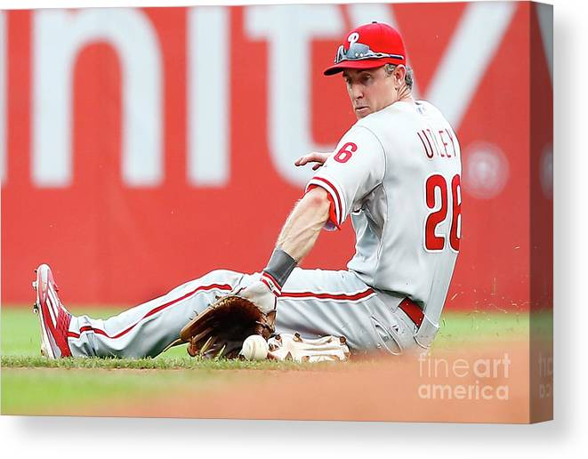 People Canvas Print featuring the photograph Chase Utley by Jared Wickerham