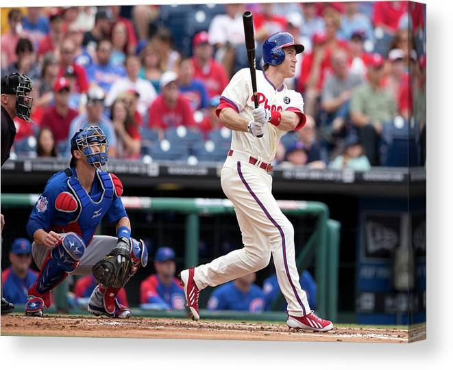 Individual Event Canvas Print featuring the photograph Chase Utley by Mitchell Leff