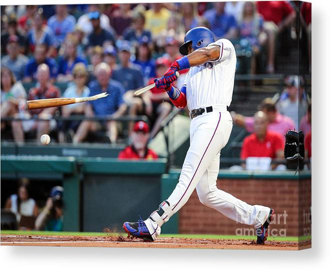 American League Baseball Canvas Print featuring the photograph Elvis Andrus by Richard Rodriguez