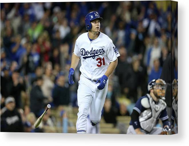 People Canvas Print featuring the photograph Joc Pederson by Stephen Dunn