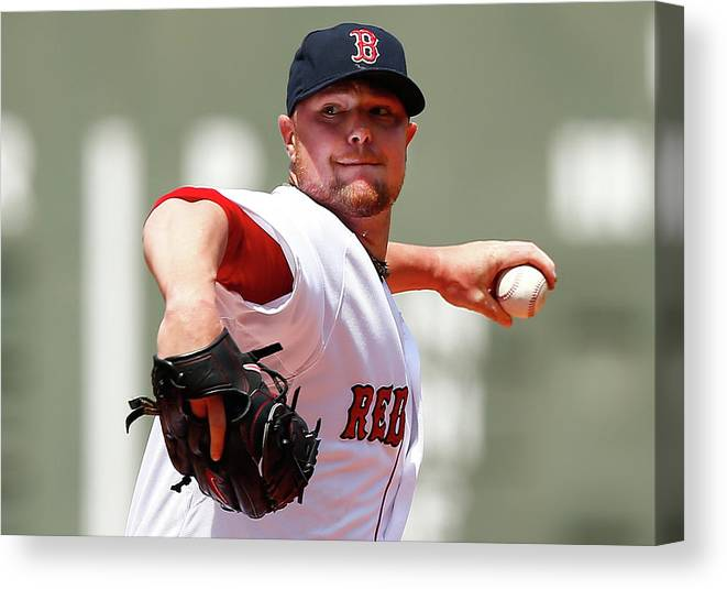 American League Baseball Canvas Print featuring the photograph Jon Lester by Jared Wickerham