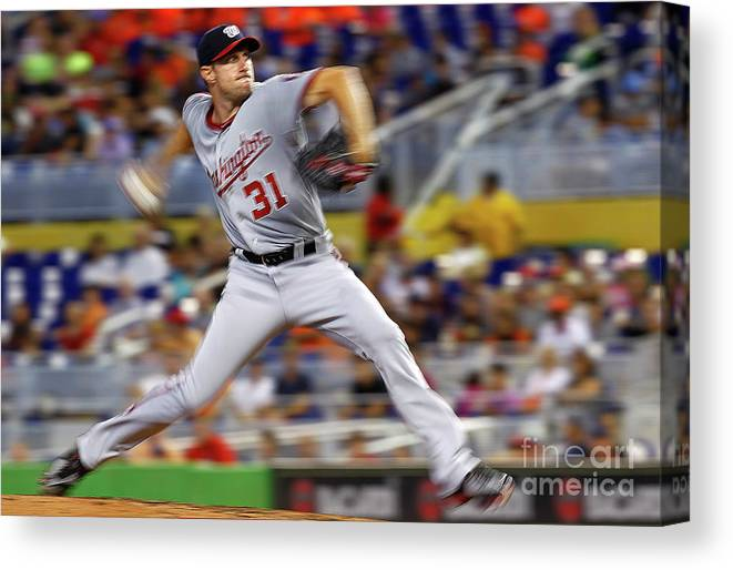 People Canvas Print featuring the photograph Max Scherzer by Mike Ehrmann