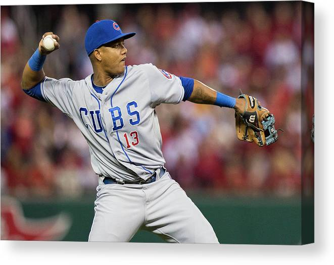 Second Inning Canvas Print featuring the photograph Starlin Castro by David Welker