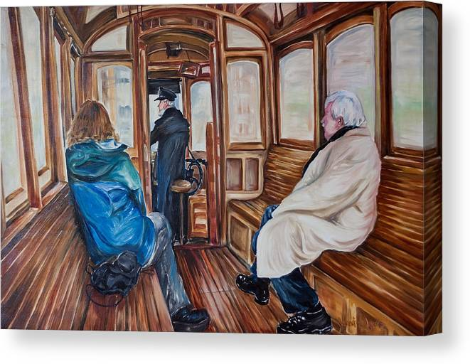 Tram Canvas Print featuring the painting The Tram by Jennifer Lycke