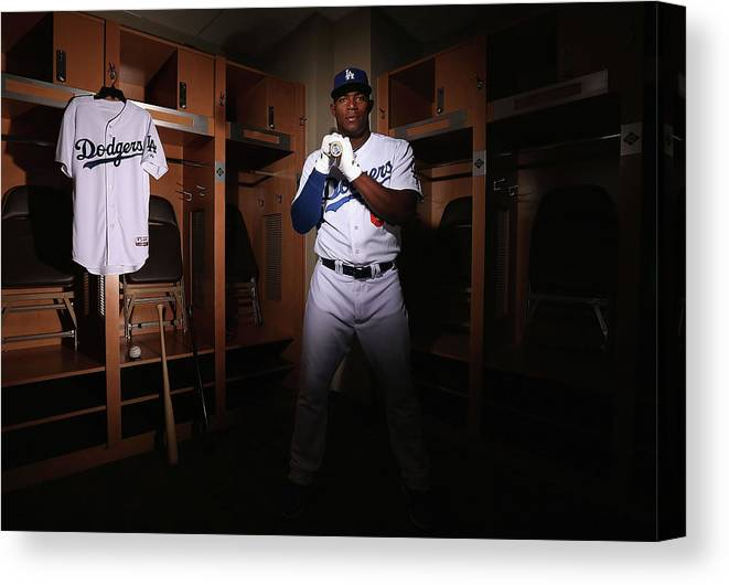Media Day Canvas Print featuring the photograph Yasiel Puig by Christian Petersen
