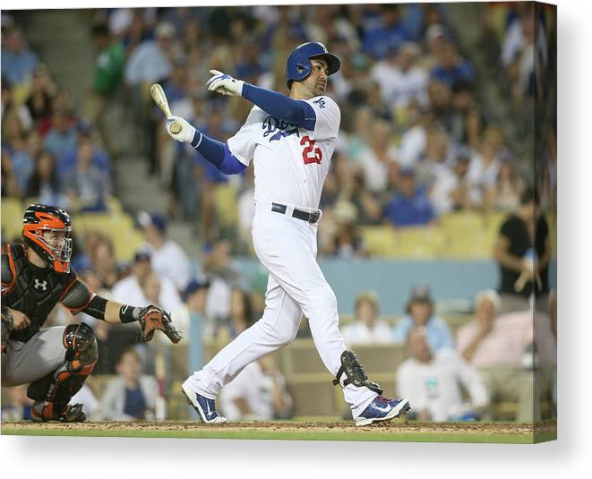 People Canvas Print featuring the photograph Adrian Gonzalez by Stephen Dunn