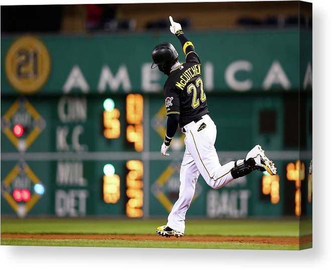 American League Baseball Canvas Print featuring the photograph Andrew Mccutchen by Jared Wickerham