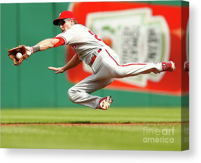 Second Inning Canvas Print featuring the photograph Chase Utley by Jared Wickerham