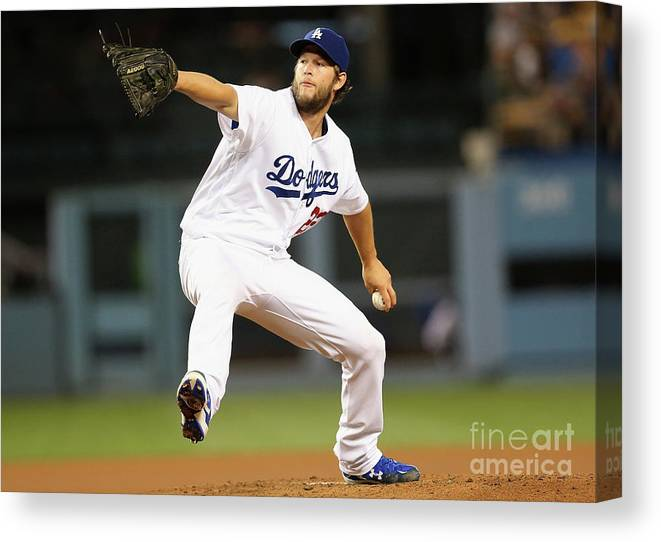 People Canvas Print featuring the photograph Clayton Kershaw by Stephen Dunn