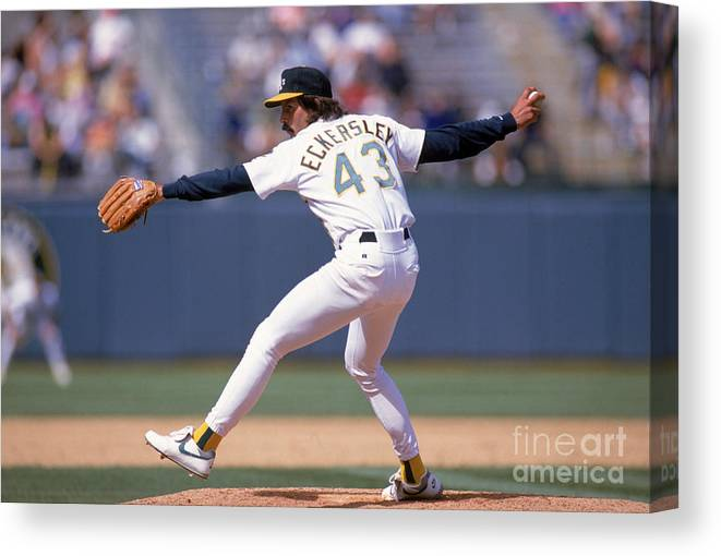 American League Baseball Canvas Print featuring the photograph Dennis Eckersley by Otto Greule Jr