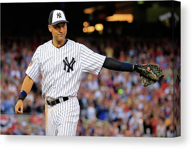 Crowd Canvas Print featuring the photograph Derek Jeter by Rob Carr