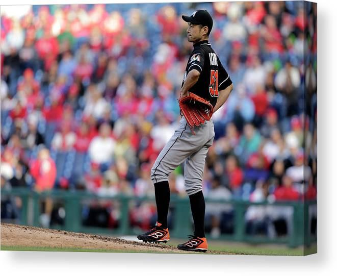 American League Baseball Canvas Print featuring the photograph Ichiro Suzuki by Adam Hunger