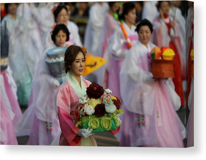 People Canvas Print featuring the photograph Lantern Festival Celebrates Buddha's Birthday by Chung Sung-Jun