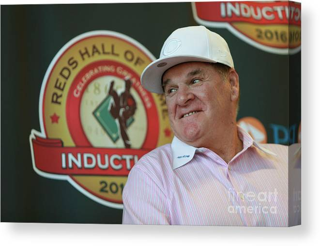Great American Ball Park Canvas Print featuring the photograph Pete Rose by Mark Lyons