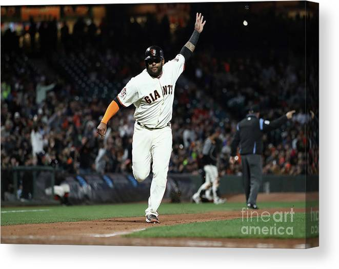 San Francisco Canvas Print featuring the photograph Pablo Sandoval by Ezra Shaw