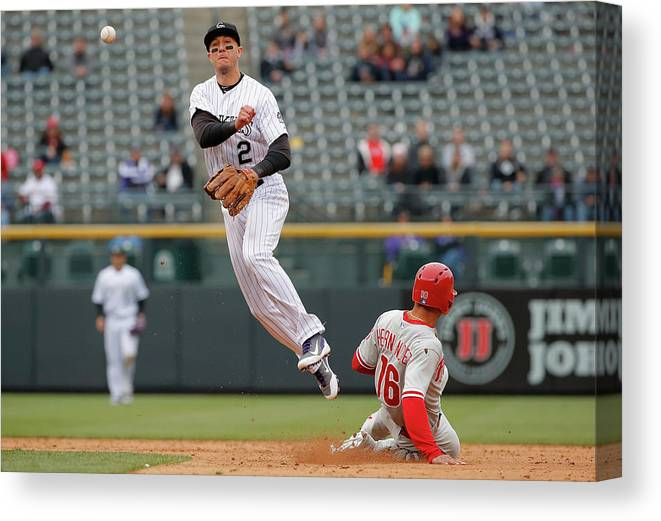 Double Play Canvas Print featuring the photograph Troy Tulowitzki by Doug Pensinger