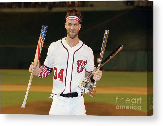 Three Quarter Length Canvas Print featuring the photograph Bryce Harper by Rob Carr