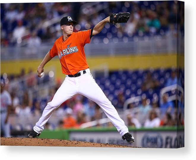 American League Baseball Canvas Print featuring the photograph Washington Nationals v Miami Marlins by Rob Foldy