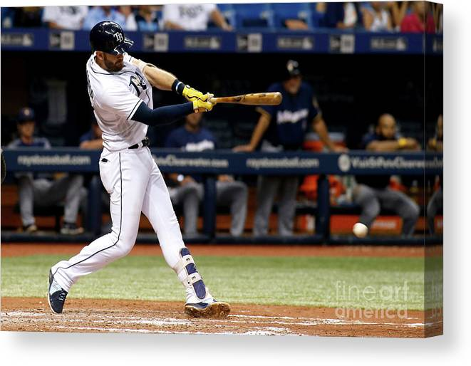 Double Play Canvas Print featuring the photograph Evan Longoria by Brian Blanco