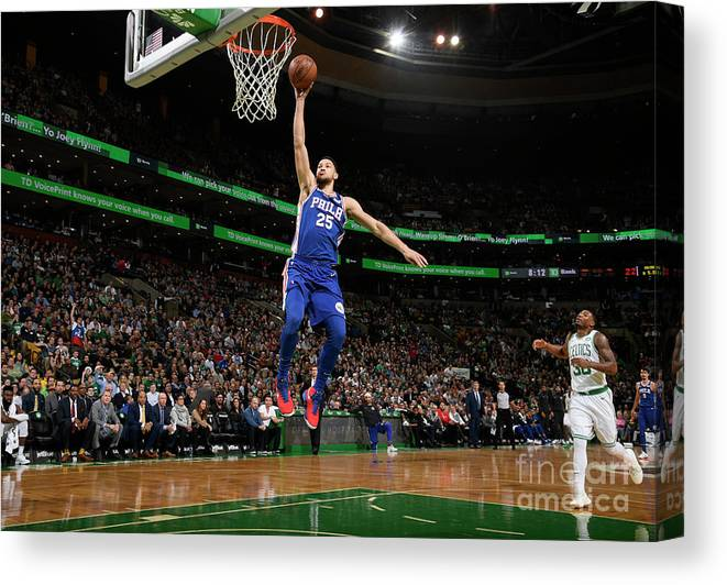 Nba Pro Basketball Canvas Print featuring the photograph Ben Simmons by Brian Babineau
