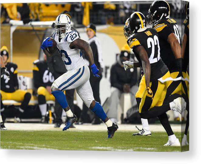 People Canvas Print featuring the photograph Indianapolis Colts v Pittsburgh Steelers by Joe Sargent