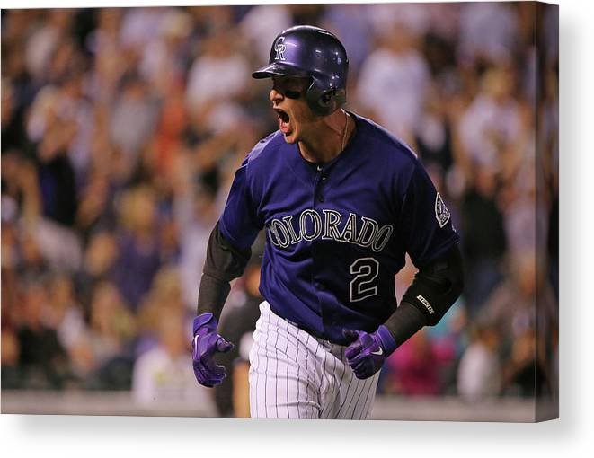 Game Two Canvas Print featuring the photograph Troy Tulowitzki by Doug Pensinger