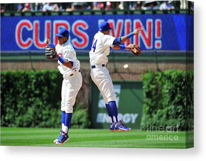People Canvas Print featuring the photograph Addison Russell and Starlin Castro by David Banks