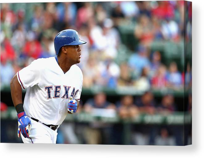 Adrian Beltre Canvas Print featuring the photograph Adrian Beltre and Bruce Chen by Ronald Martinez