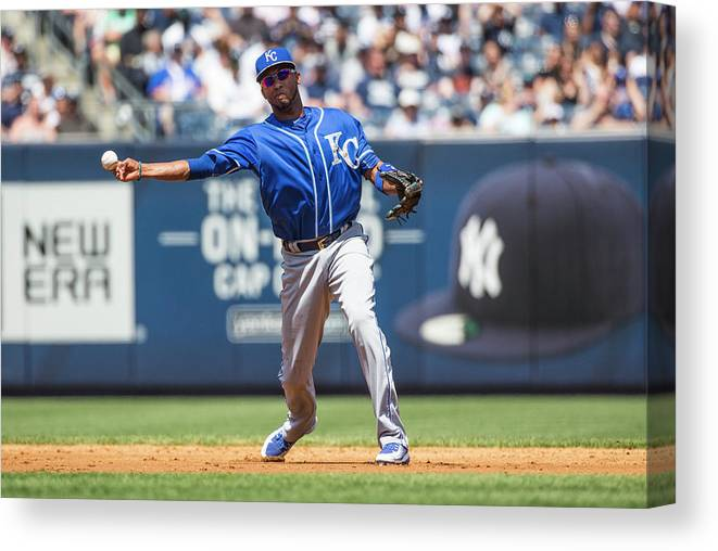 American League Baseball Canvas Print featuring the photograph Alcides Escobar by Anthony Causi