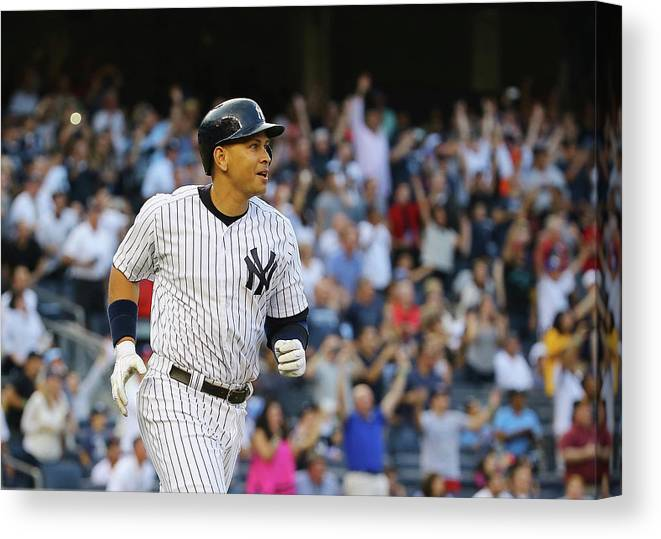 Three Quarter Length Canvas Print featuring the photograph Alex Rodriguez And Justin Verlander by Al Bello