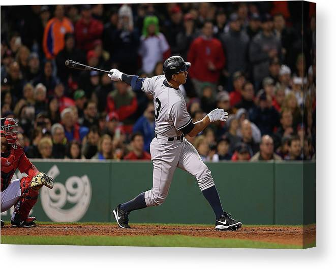 People Canvas Print featuring the photograph Alex Rodriguez and Willie Mays by Jim Rogash